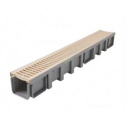 Caniveau PVC Nicoll Connecto 13cm x 1ml + 2 Grilles PVC Sable Classe A15
